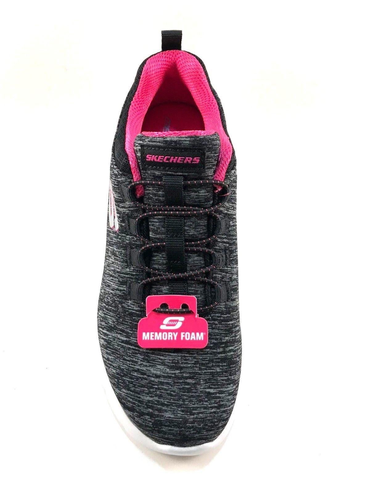 Skechers 12965 Black/Hot Pink Memory Foam Slip On Sneakers