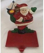 Vintage Cast Iron Christmas Santa & His Toys Stocking Hanger Hook Holder... - $19.79
