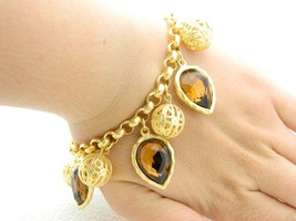 New Old Stock ROSA FLORES Topaz Rhinestone Filigree Gold Tone Bracelet - $23.76