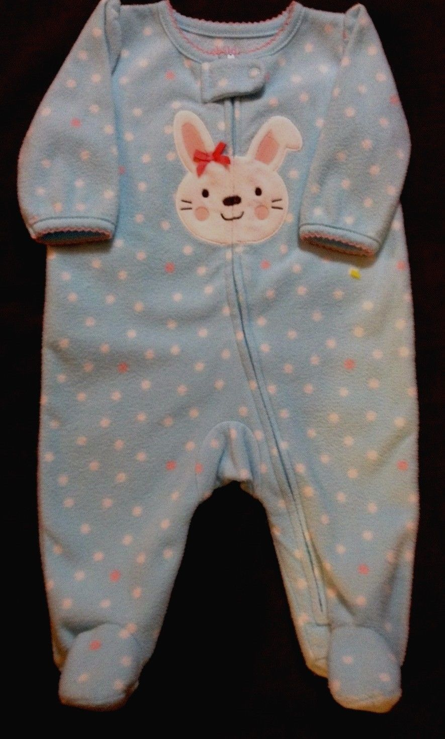 f4cd06c359 Child of Mine Carter s 0-3 months blue polka dot GIRL S sleeper with bunny  face -  5.99