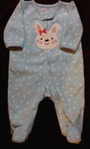 Child of Mine Carter's 0-3 months blue polka dot GIRL'S  sleeper with bunny face - $5.99
