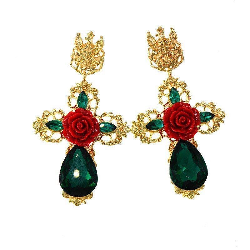 Cross Pattern Drop Earrings For Women Floral Fashions Crystal Push Back Closures