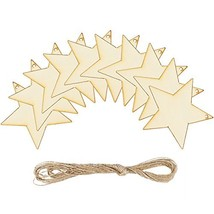 Coobey 20 Pieces Wooden Star Hanging Christmas Ornaments with Twine for ... - $10.26
