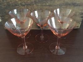 "Lot #2 / Vintage Pink Etched Stemware 5 1/4"" Ch... - $40.00"