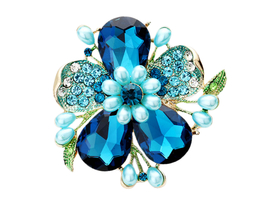 Extra Large Crystal Teardrop Pearl Floral Stretch Ring - $15.95