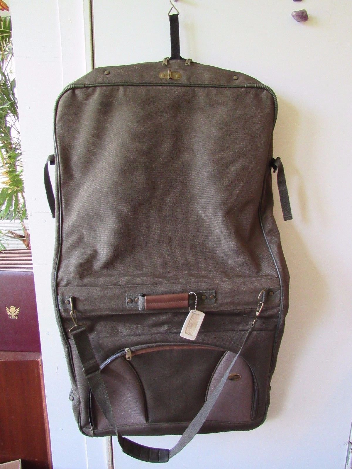 """American Tourister Garment Bag With Shoulder Strap 22"""" When Folded Green"""
