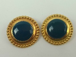 "VINTAGE TURQUOISE GOLD TONE PIERCED EARRINGS 1"" (B) - $7.02"