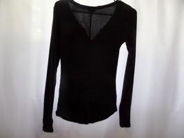 Express Black Long Sleeve Slim Fit V-neck Top Size junior s/p - $10.40