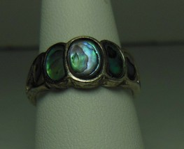 Sterling & Abalone Ring Signed NV Size 7.5 - $22.76
