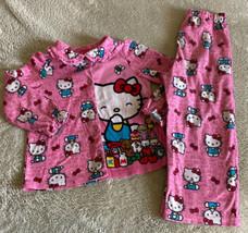 Hello Kitty Girls Pink White Bows Cupckaes Fleece Long Sleeve Pajamas 2 ... - $6.43
