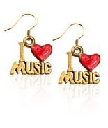 I Love Music Charm Earrings in Gold - $19.95