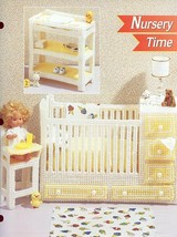 Nursery Time Crib Dresser for Barbie Doll Plastic Canvas Pattern Leaflet... - $8.07