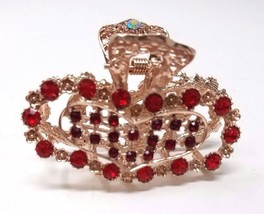 Ladies Hair Accessories, Jaw Hair Clip with Rhinestones, Color Gold & Red - €5,36 EUR