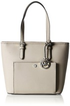 NWT MICHAEL KORS JET SET MEDIUM LEATHER  TOP ZIP POCKET TOTE CEMENT - $159.64