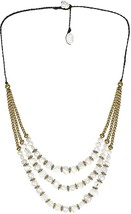 Classy Belle Triple Layer Cultured Freshwater White Pearl And Fashion Brass - $66.82