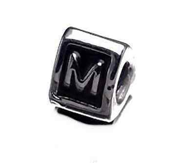 Primary image for NICE Letter M Initial European Bead for bracelet Silver .925
