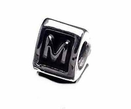 NICE Letter M Initial European Bead for bracelet Silver .925 - $18.37