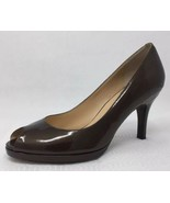Cole Haan Metallic Pewter Brown Patent Leather Peep Toe D23363 Pumps 8.5 - $29.77