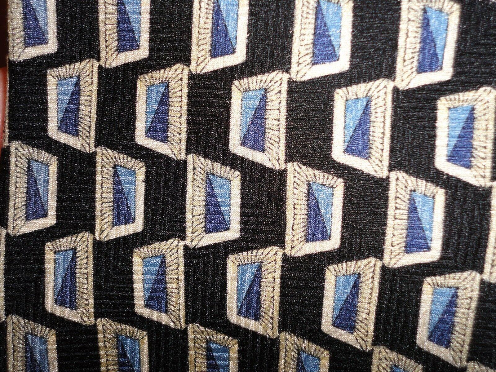 Efenzo Felini Rome Paris All Silk Men's tie Blue Abstract pattern