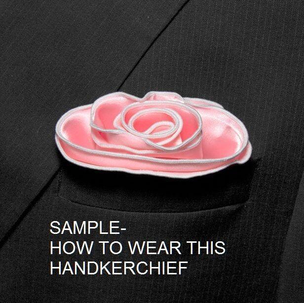 GOLD Silk BLUE border Pocket square Round Handkerchief edge trim NEW $45 image 3