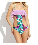 RAISINS South Beach SWIMWEAR Ruffled STRIPE Floral MONOKINI Pink FREE SH... - $69.97