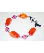 "Debby Reid Glass Bead Bracelet Signed Ronnie Mae Collection 8"" - $12.95"