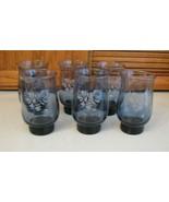 Pfaltzgraff Libbey Blue Etched Yorktowne Tumblers Glasses SIGNED BOTTOM ... - $29.69