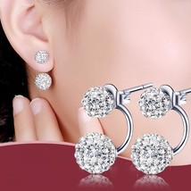 925 Silver Double Sided Earrings Fashion Shambhala Crystal Ball Stud Women - $11.96