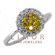 1.44CT Natural Yellow Canary Diamond Flower Ring 14K White Gold W/ APPRA... - $1,336.50