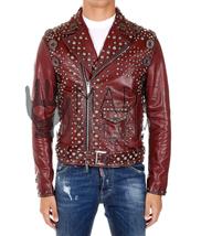 Handmade Burgundy Belted Strap Rock Punk Studded Leather Jacket Of Real ... - $369.99+