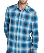 Lucky Brand Mens Blue Plaid Santa Fe Button Down Western Shirt  Small S ... - $68.31 CAD