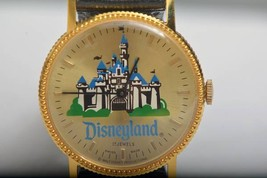 1980 BRADLEY Disney land Wrist watch 17 stone Gold tone handwriting Swit... - $394.02