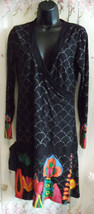 Stunning Desigual dress size 12-hip tie, very flattering, knee length,V ... - $60.17