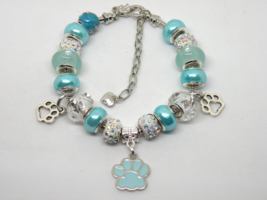 Aqua Blue Pet European Murano Beaded Bracelet. Gift bag included - $19.95