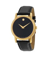 MOVADO Museum 2100005 Gold Classic Black Dial Leather Wrist Watch Men's - $152.33
