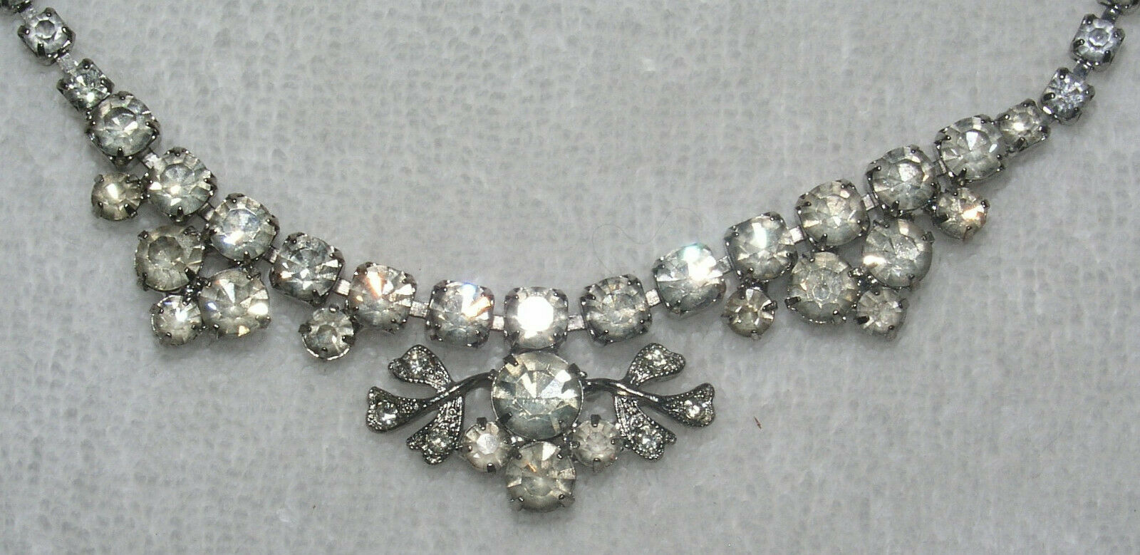 Rhinestone Necklace Choker Weiss 14 Inch Silver Tone Floral Wedding Prom Jewelry