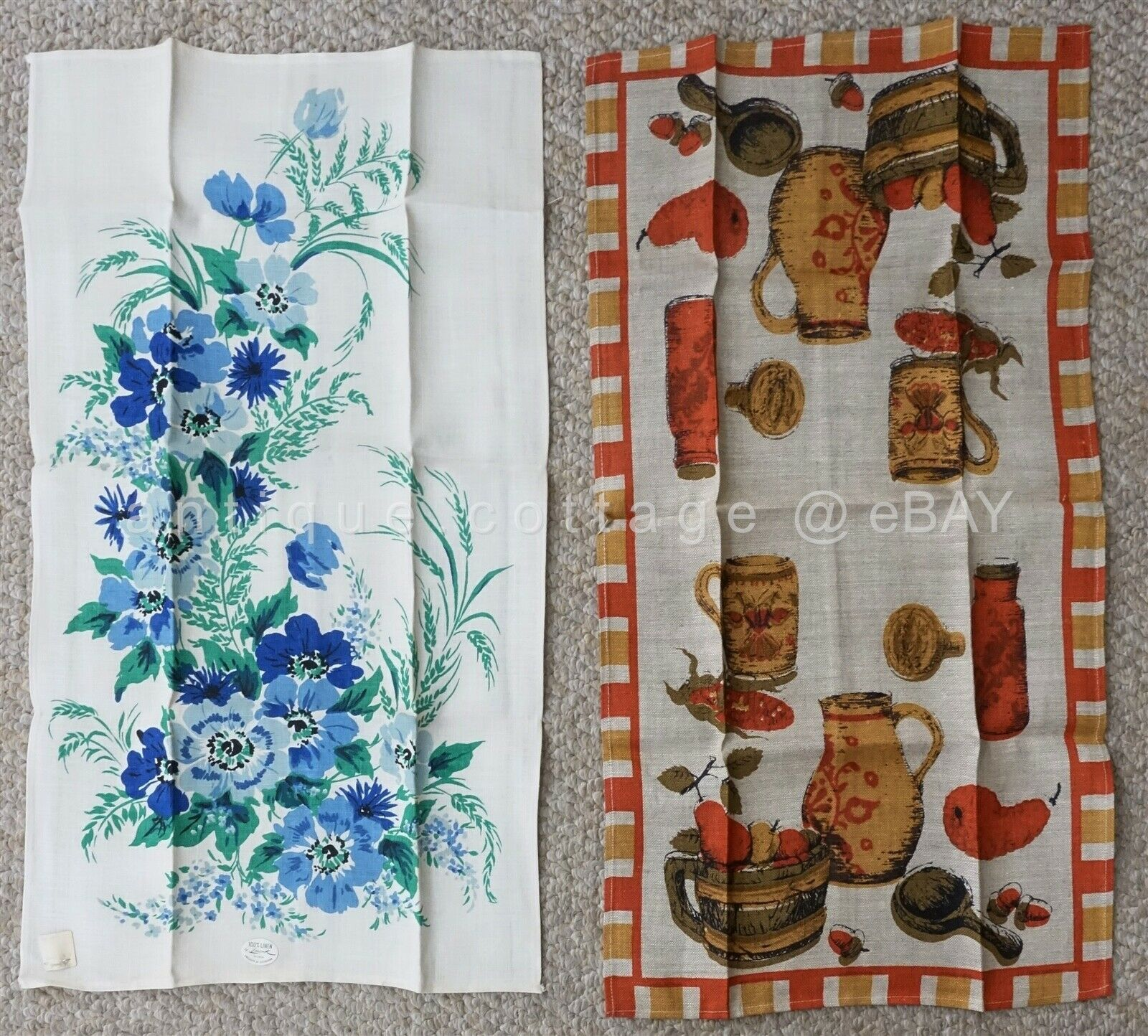 LOT vintage NOS 2p LINEN KITCHEN TOWELS unused LEACOCK and FALLINI & COHN