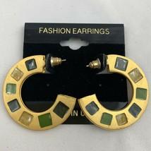 Vintage Enamel Mosaic Inlay Hoop Earrings Satin Brushed Matte Gold Tone NOS - $14.80