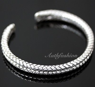 Mens Sterling Silver Bracelet Double Braided Handcrafted Hip Hop Beachwear b10 image 1