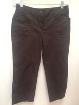 Ann Taylor Loft Petite Pants 6P Brown Cotton Stretch Cropped - $23.50