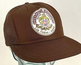 CIRCUS CIRCUS Hotel Casino Hat-Brown-Mesh-Snapback-Fuzzy Logo-Vtg - $29.91