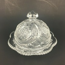 Vtg LE Smith Clear Sunburst Pattern Round Butter Dish Bowl w Lid Pressed... - $34.58