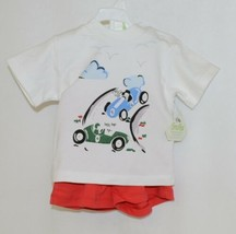 Snopea Two Piece Boys Short Set Race Cars Red Shorts White Shirt Size 9 Months image 1