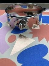Coach Signature Bangle Bracelet  Silver With Snap Rare - $68.00
