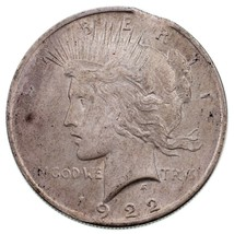 """1922 $1 Silver Peace Dollar """"Clipped"""" Variety in Ch BU Condition, Clip a... - $79.19"""