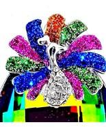 Peacock Pendant Austrian Crystal large 100 carats - $84.02