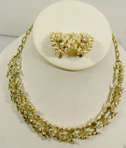 Vtg Gold Tone Aurora Borealis Crystal Rhinestones Necklace & Clip Earrings Lot - $43.56