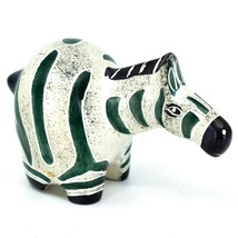 Crafts Caravan Hand Carved Soapstone Chubby White Dark Green Zebra Figure Kenya