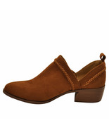 Qupid RAGER 24 Chestnut Women's Cross Stitch V Cut Ankle Booties - $33.95
