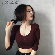 Macheda Women Sexy Knitted Long Sleeve Slim Fit Casual Top T-shirt Tight... - $23.44